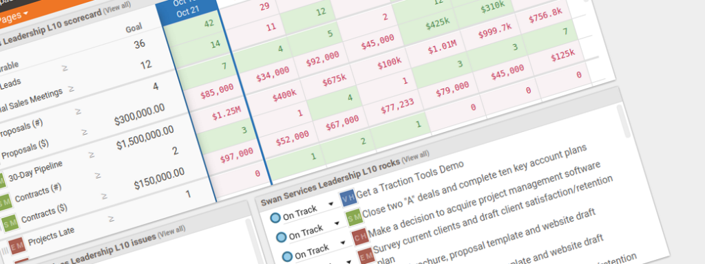 Image of your accountability workspace in traction tools EOS