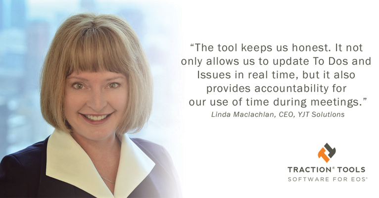 Linda Maclachlan of YJT Solutions gives testimonial for EOS software
